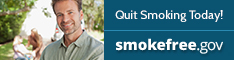 "Photo of man with ""Quit Smoking Today""! smokefree.gov"