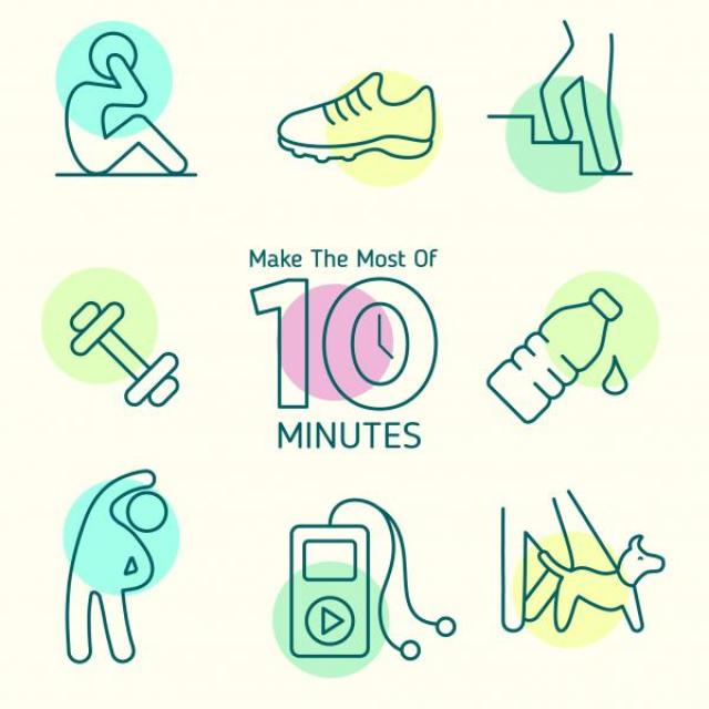 "Banner that reads, ""Make the most of 10 minutes"" is surrounded by photos of people walking a dog, taking the stairs, doing sit-ups, and stretching. A weight, a running shoe, a water bottle, and an MP3 player also surround the banner."
