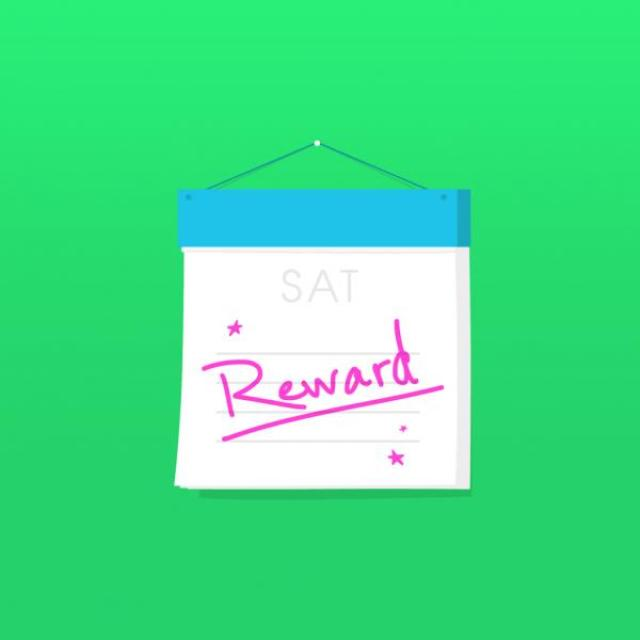 "Graphic of a page-a-day calendar turned to Saturday with the word ""Reward"" handwritten across the day."