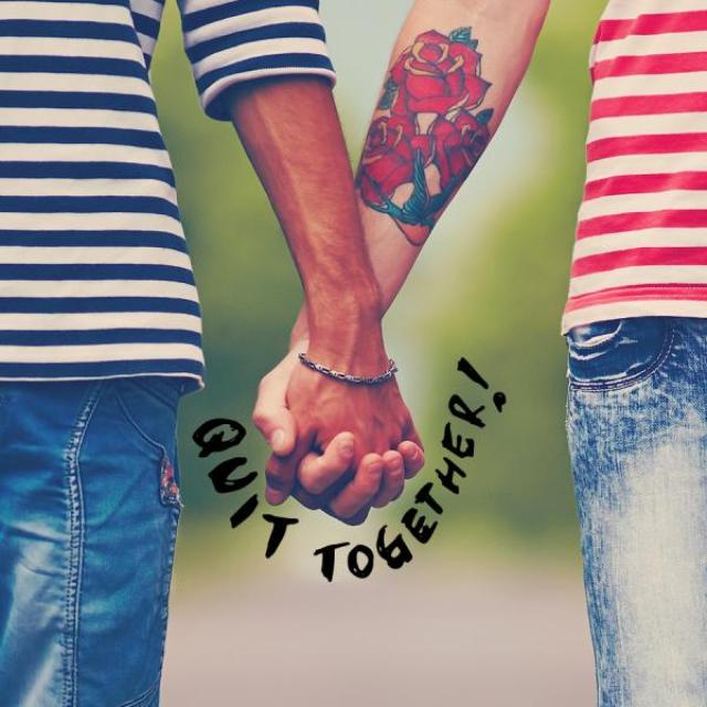 "A close up image of the hands of two people wearing jeans and stripped shirts holding hands, with the words, ""Quit together!"" under their hands."