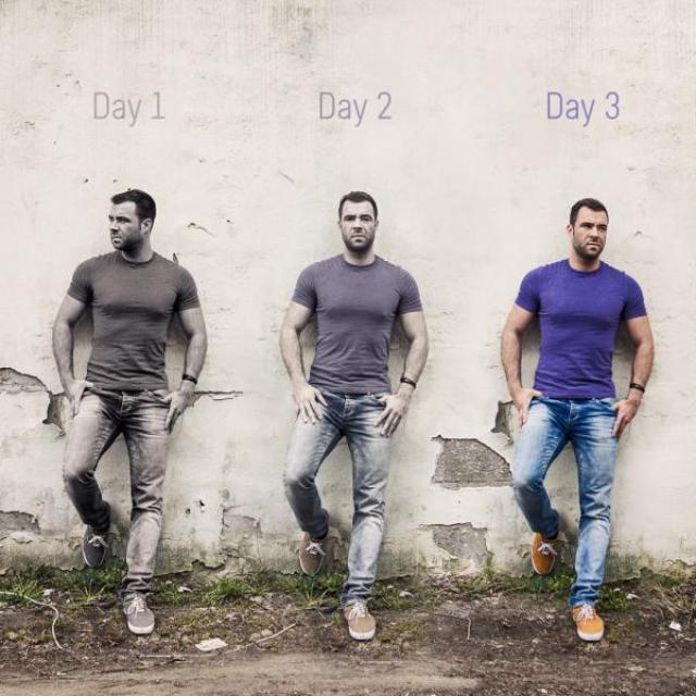 "Same man leaning against a wall in three similar poses, with labels reading ""Day 1, Day 2, Day 3."" Day 1 the man is in black and white, Day 2 he is partially colored, and Day 3 he is in full color."