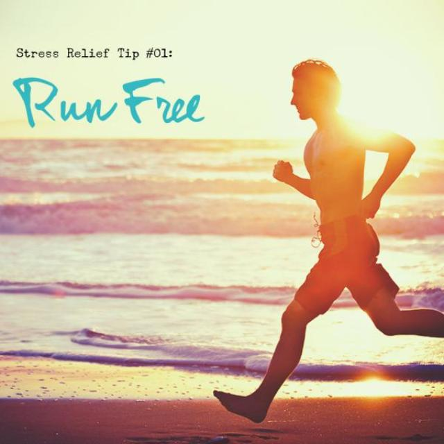 "Man running with ocean and sunset behind him. Text overlay: ""stress relief tip #01: Run Free"""