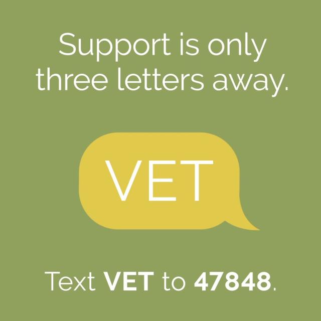 the word vet in speech bubble and text stating support is only three letters away. text vet to 47848